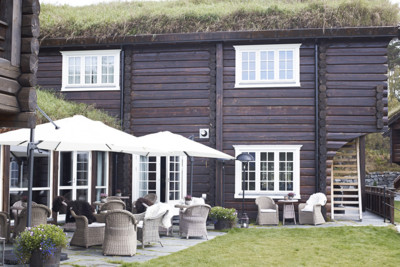 view of exterior of storfjord hotel in glomset in norway
