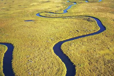 Aerial view of the Okavango Delta in Botswana in Africa