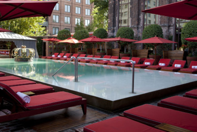 View of the pool and poolbar at the Faena Hotel