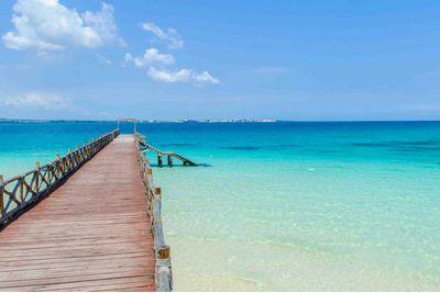 A pier and the ocean in Zanzibar, Tanzania
