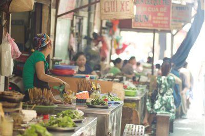 a market in Hanoi's old quarter, Vietnam