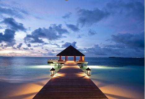 Pier in the evening at Angsana Ihurum, Maldives