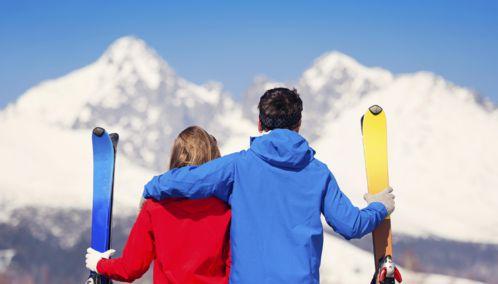 Couple on a Ski Honeymoon