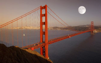 The Moon Behind the Golden Gate Bridge
