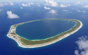 Aerial view of an atoll in French Polynesia