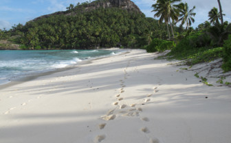 Picture of footprints on white sand Seychelles