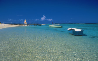Picture of boats and beach in Mauritius