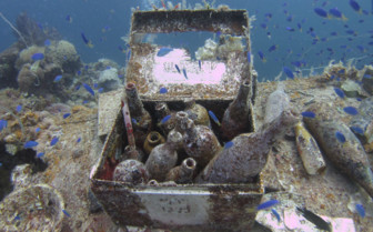 Picture of a case of wine in Chuuk Lagoon