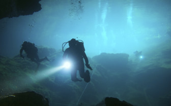 Picture of cave diving in the Yucatan Peninsula