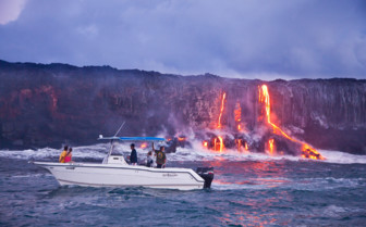 Picture of Lava flowing into the sea Hawaii