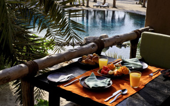 Breakfast on private terrace at the hotel
