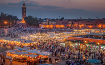 Marrakech market in the evening