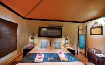 Bedroom at Desert Night Camp, luxury hotel in Oman