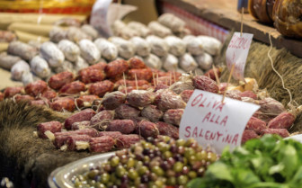 Meats and olives in the market