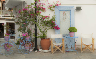 A Pastel Cafe with a Bicycle