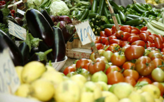 Bunches of vegetables in a market