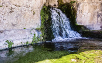 Small waterfall from wall in Sicily