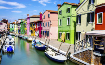 Colourful houses along canal