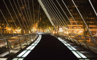 A Modern Bridge in Bilbao by Night