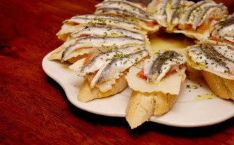 A Plate of Anchovy Tapas in Spain