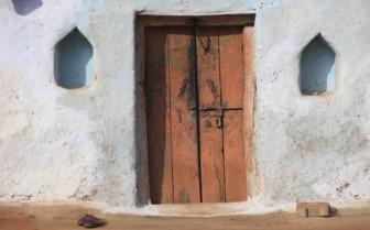 Rustic blue doorway