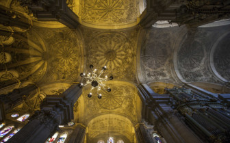 The Curved Golden Ceiling of Malaga Cathedral