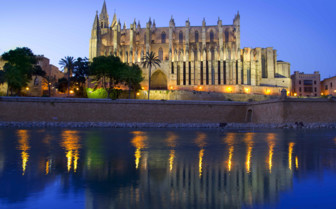 Le Seu Cathedral Lit up by Night in Mallorca