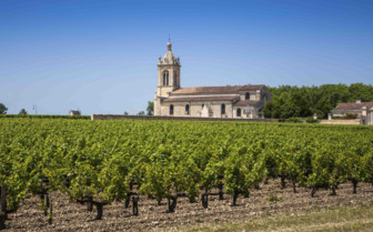 Church by vineyards