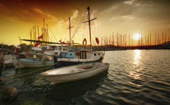 Harbour of boats at sunset