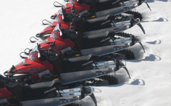 Red and Black Snowmobiles