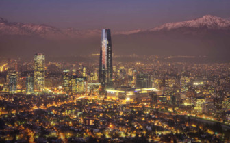 Santiago Cityscape through the Night Mist