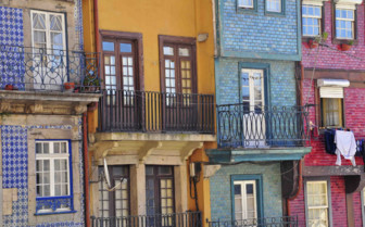 Colourful Balconies on street