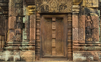 A Wooden Temple Door