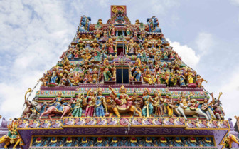 Statues on Sri Veeramakaliamman Temple