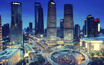 Shanghai Roundabout at Night - China