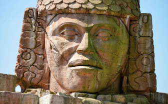 Sculpted Stone Head in Bolivia
