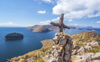 Cross on a Hillside - Lake Titicaca