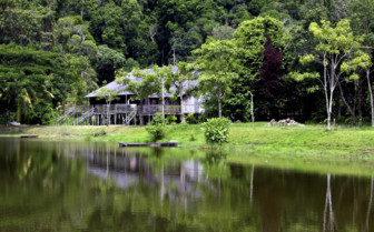 House on the edge of a Lake in Borneo