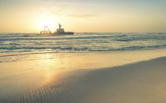 Dusky sunset over Skeleton Coast