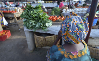Market and seller in Zambia