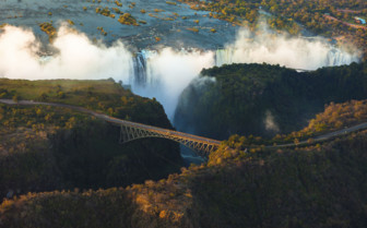 Aerial of the Falls and bridge