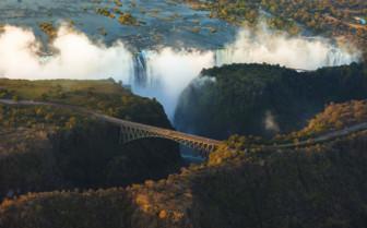 Aerial of the Falls and bridge