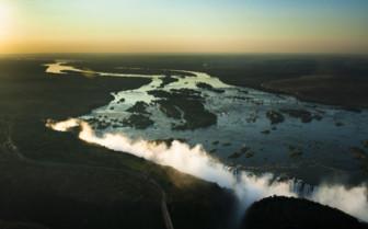 Sunset skies Victoria Falls