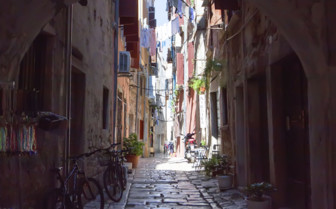 Narrow city street in Croatia