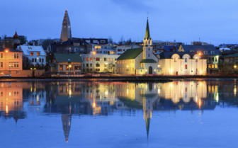 River reflection of Reyjavik city