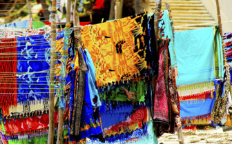 Bright scarves on the Kenyan coast