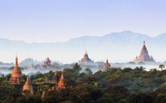 Bagan misty sunrise