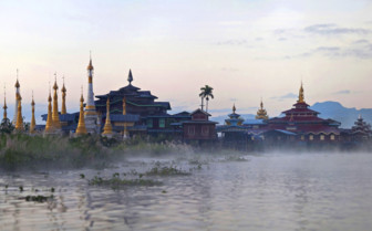 Buddhist pagoda and monastery on Inle Lake