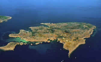 Aerial view of Comino island