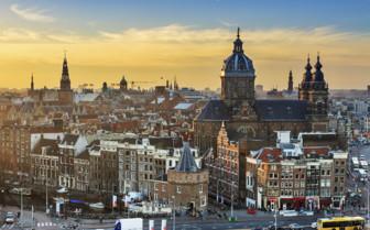 Winter city view of Amsterdam